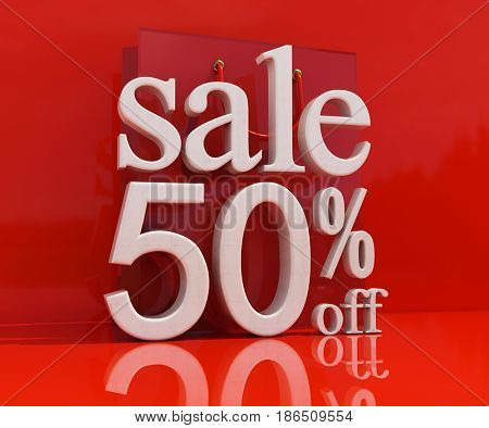3d render: 50% Sale Banner or Poster Discount Template, Retail Image