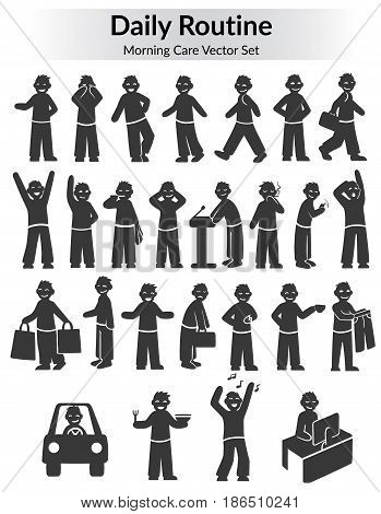 Monochrome doodle daily routine set with different activities of man from awakening till work isolated vector illustration
