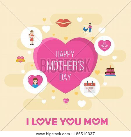 Happy Mothers Day. Flat Design Concept Includes Mam, Sticker And Stroller Symbols. Vector Festive Holiday Illustration.