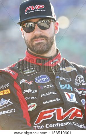 May 13, 2017 - Kansas City, Kansas, USA: Paul Menard (27) hangs out on pit road prior to the start of the Go Bowling 400 at Kansas Speedway.