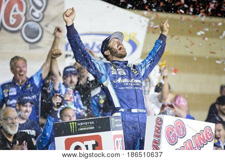 May 13, 2017 - Kansas City, Kansas, USA: Martin Truex Jr. (78) wins the Go Bowling 400 at Kansas Speedway.