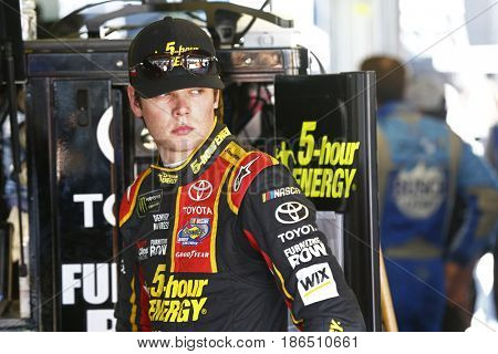 May 12, 2017 - Kansas City, Kansas, USA: Erik Jones (77) hangs out in the garage during practice for the Go Bowling 400 at Kansas Speedway.