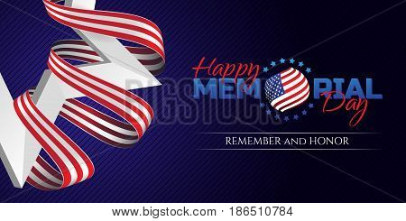 Happy Memorial Day Greeting Card With National Flag Colors Ribbon And White Star On Dark Background.