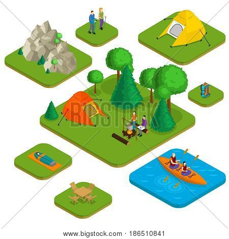 Isometric colorful active recreation concept with people camping hiking water and nature elements isolated vector illustration