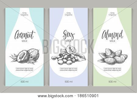 Vector set of templates packaging milk, label, banner, poster, identity, branding. Color background with sketch hand drawn illustration - Coconut, almonds, soy beans. Stylish design