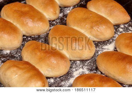 Homemade russian pirozhki fresh baked patties or pies closeup