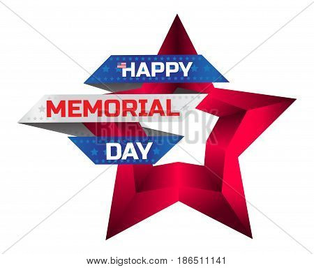 Happy Memorial Day Greeting Card With National Flag Colors And Red Star Isolated On White Background