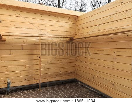 Construction Of Wooden Houses. Old Wood Planks, Perfect Background For Your Concept Or Project.