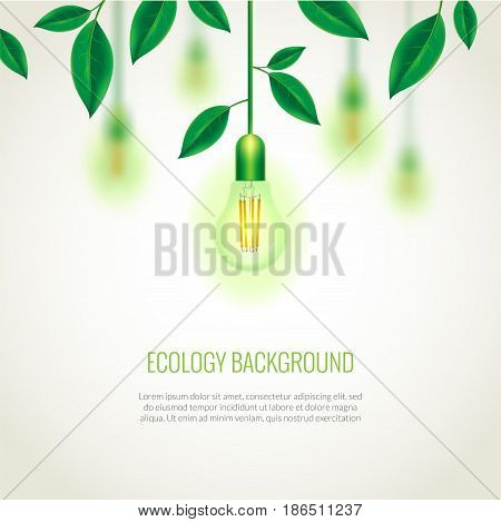 Ecology light bulb growing up. Background with leaves. Green energy template. Can be used as greeting card or promotion, invitation, poster, brochure, web banners