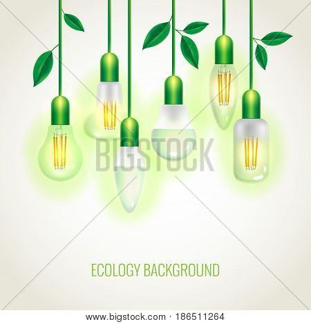 Many Ecology light bulbs growing up. Background with leaves. Green energy template. Can be used as greeting card or promotion, invitation, poster, brochure, web banners