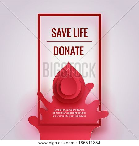 World Donor Day. Paper blood drops and splash background. Medical poster concept