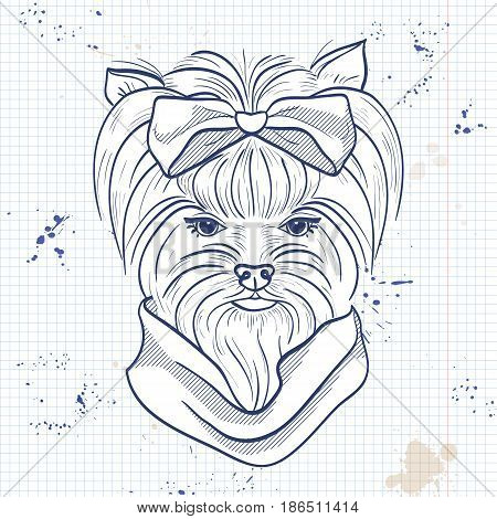 Vector sketch of elegant dog womans face with big hear bow and scarf on a notebook page