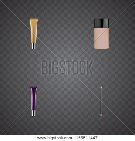 Realistic Concealer, Collagen Tube, Day Creme And Other Vector Elements. Set Of Cosmetics Realistic Symbols Also Includes Cosmetics, Concealer, Lip Objects.