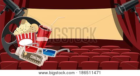 Cinema movie hall icons set. Cartoon illustration of 16 cinema movie vector icons for web