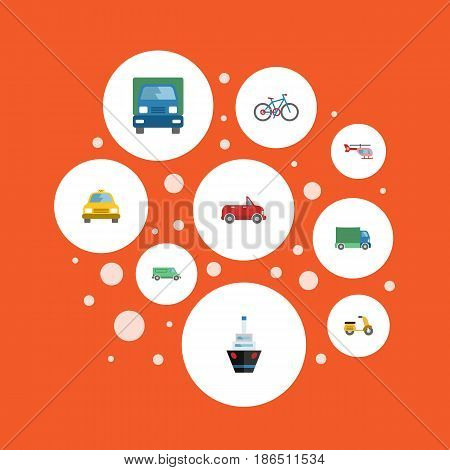 Flat Chopper, Cab, Scooter And Other Vector Elements. Set Of Transport Flat Symbols Also Includes Motorbike, Van, Carriage Objects.