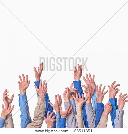 hands and arms isolated on white background