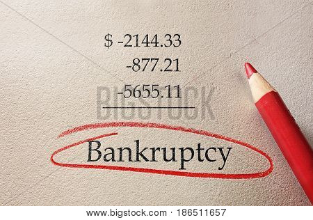 Red Bankruptcy circle with negative added numbers