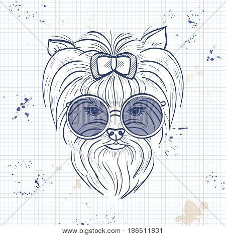 Vector sketch of elegant dog womans face with bow and circle sunglasses on a notebook page