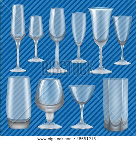 Drinking glass mockup set. Realistic illustration of 10 Drinking glass mockups for web