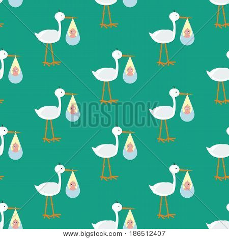 Stork brought the baby seamless pattern on the green background. Vector illustration