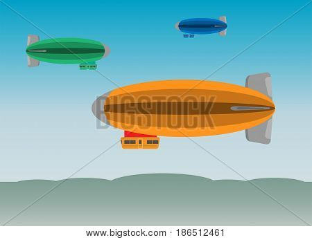 Zeppelin Or Airship On  Sky Background