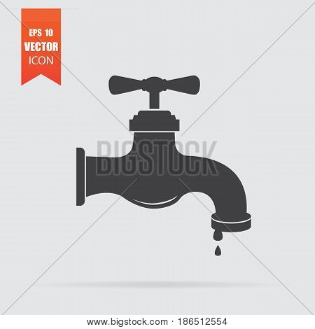 Water Tap Icon In Flat Style Isolated On Grey Background.