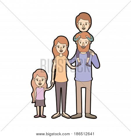 light color caricature thick contour big family parents with boy on his back and daugther taken hands vector illustration