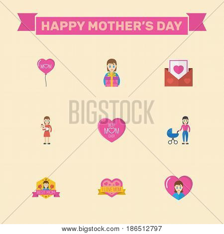 Happy Mothers Day. Flat Design Concept Includes Heart, Mam And Emotion Symbols. Vector Festive Holiday Illustration.