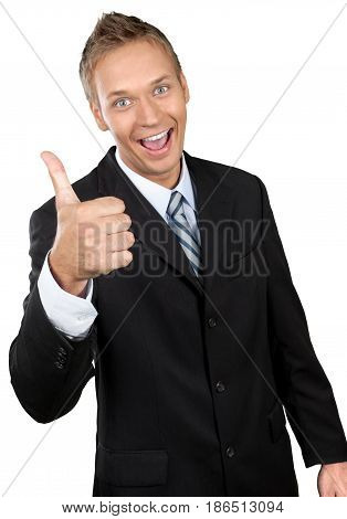 Professional looking man in a suit and tie giving a thumbs up enthusiastically