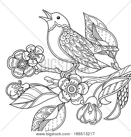 Spring garden composition in doodle style. Singing bird on a branch with flowers and leaves. Ornate decorative black and white illustration. Zentangle coloring book page