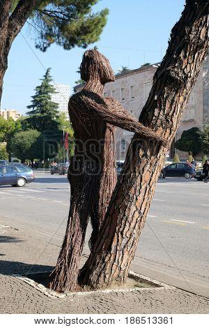 TIRANA, ALBANIA - SEPTEMBER 29: Statue on boulevard Bulevardi Deshmoret e Kombit in Tirana, Albania on September 29, 2016.