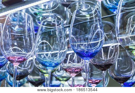 Colorful Wine Glasses Made Of Bohemian Glass