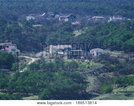 Houses in the suburbs on a mountainside