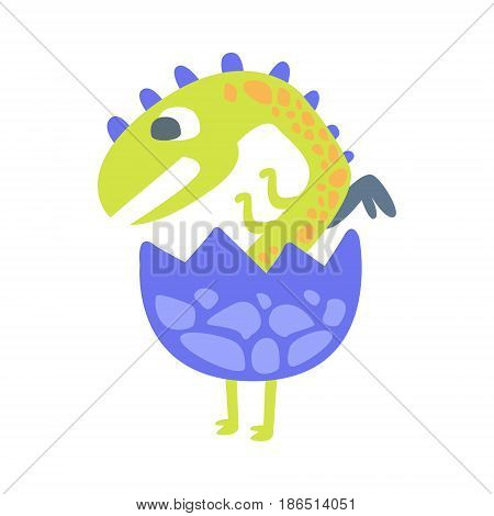 Cute baby dinosaur hatching. Prehistoric animal character colorful vector Illustration isolated on a white background