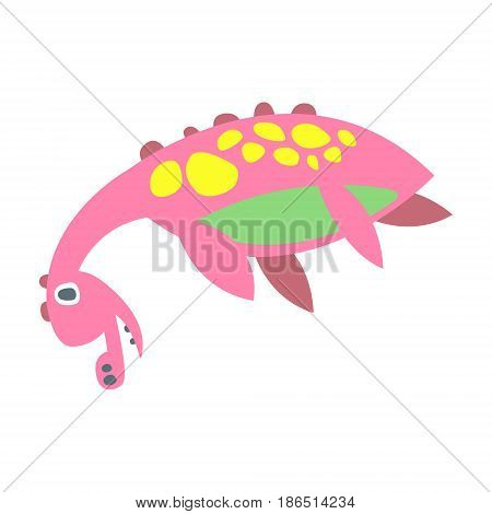 Cute funny pink dinosaur lying. Prehistoric animal character colorful vector Illustration isolated on a white background