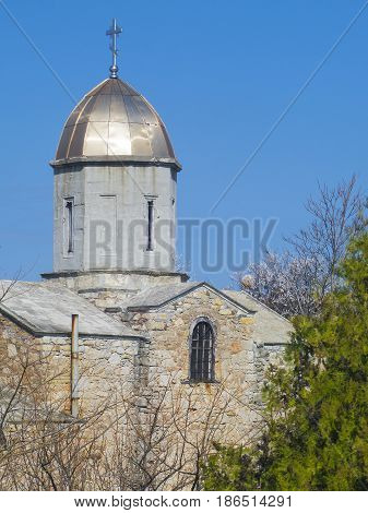 Medieval tower of the Iverian church in Feodosia Crimea