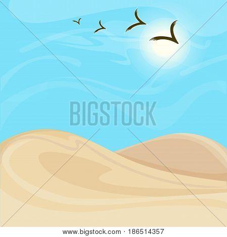 Bright hot desert landscape background with sand dunes and flock of flying birds vector illustration