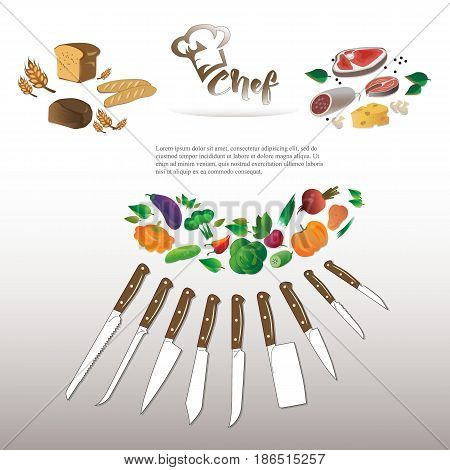 Illustration of vegetables, meat products and bakery products. Knife set chef