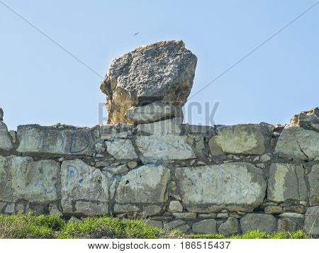Large stone on the wall of the fortress