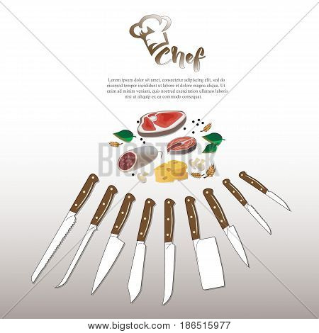 Set of kitchen knives with wooden handle chef logo