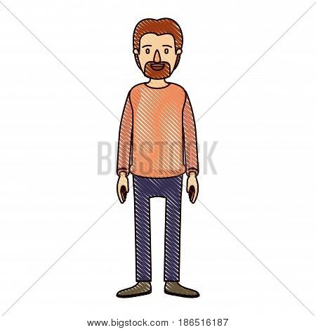 color crayon stripe cartoon full body male person with beard and moustache with clothing vector illustration