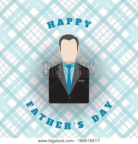 Vector poster of Happy Father's Day with man silhouette in dark gray jacket with blue tie on the background with blue line pattern.