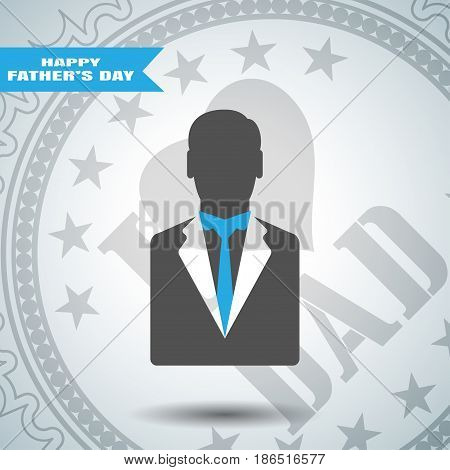 Happy Father's Day vector poster with stamp man silhouette in dark gray jacket with blue tie on the gradient gray background with blue stripe.