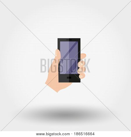 Hand with phone. Icon for web and mobile application. Vector illustration on a white background. Flat design style