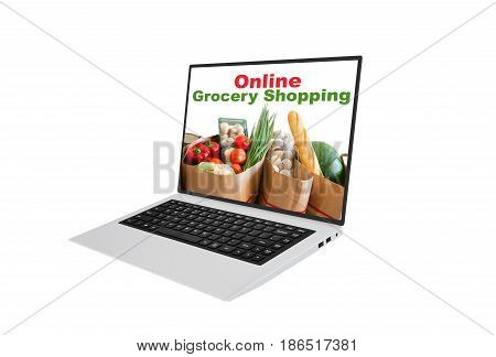 Online Grocery Shopping Using A Laptop Concept