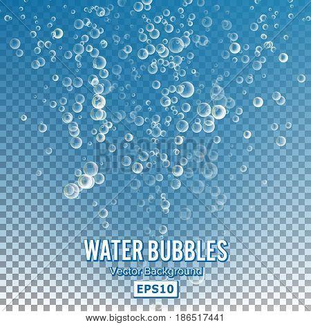 Bubbles In Water. 3d Realistic Deep Water Bubbles.