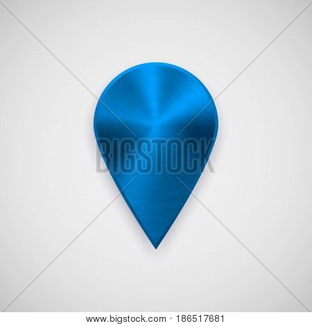 Blue technology map pointer badge, GPS button template with metal texture, chrome, steel, silver, realistic shadow and light background for interfaces, UI, applications, apps, web. Vector illustration