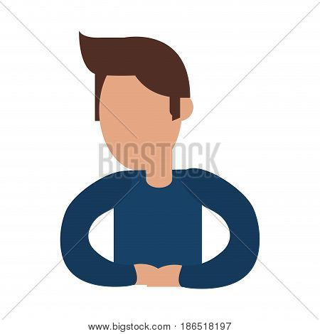 faceless man avatar wearing long sleeve shirt icon image vector illustration design