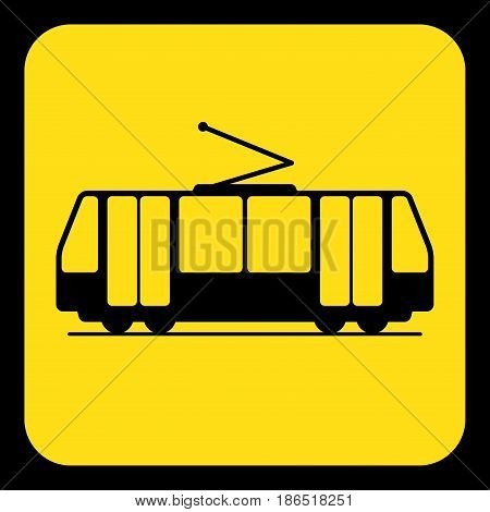 yellow rounded square information road sign with black tram streetcar icon and frame