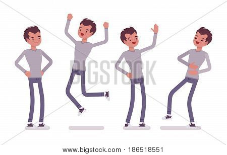 Set of young handsome man, casual wear, skinny jeans, standing and jumping with joy, belly laughing, akimbo pose, positive emotions, vector flat style cartoon illustration, isolated, white background